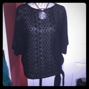 Beautiful sheer black winged arms blouse